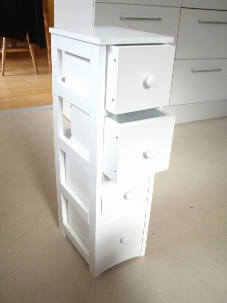 Argos HOME Tongue And Groove 4 Drawer Storage Unit   White.