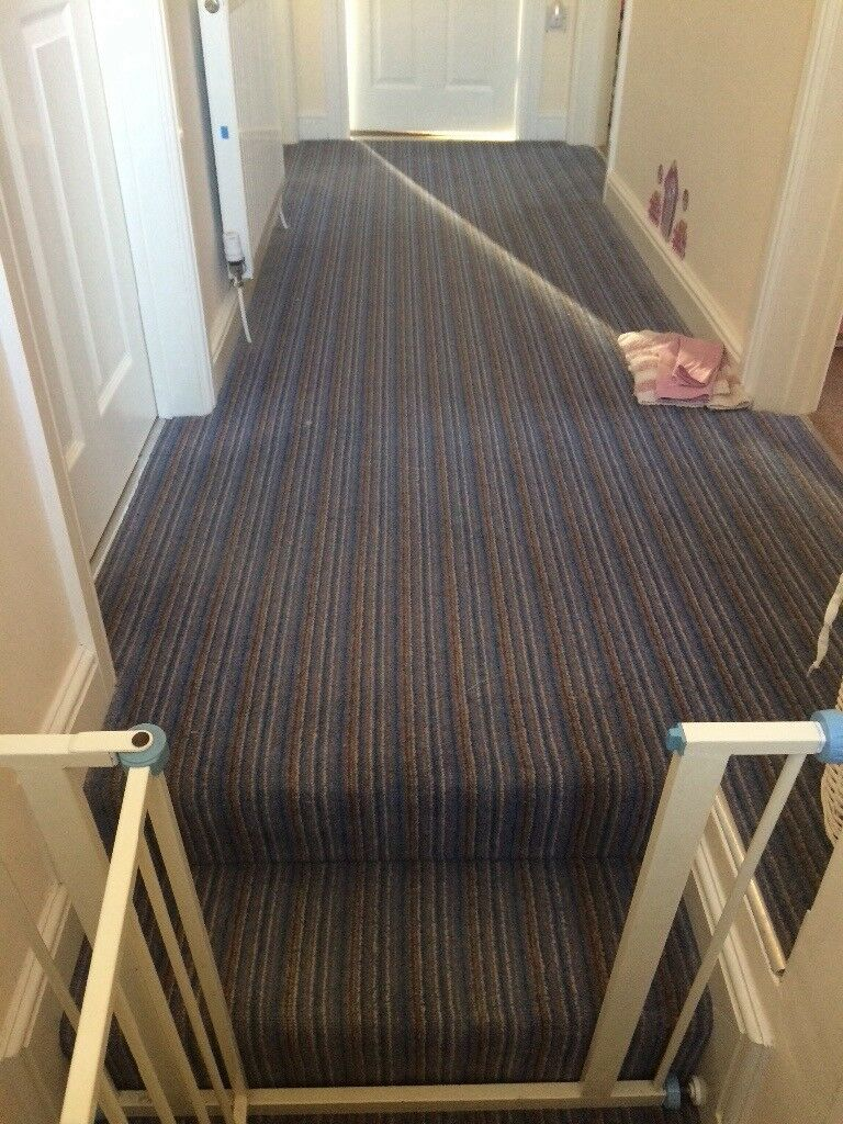 Superbe Stripy Hall And Stairs Carpet. Good Quality Carpet, Excellent Condition.