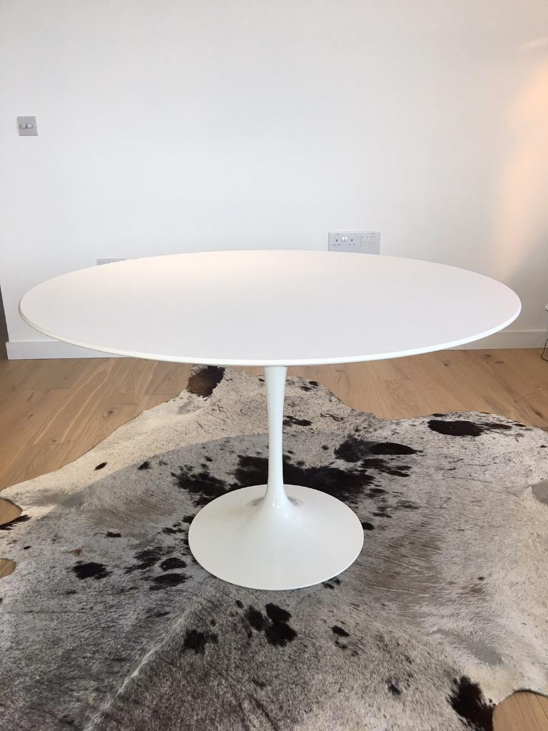 pre used genuine original knoll saarinen tulip table 120cm white laminate
