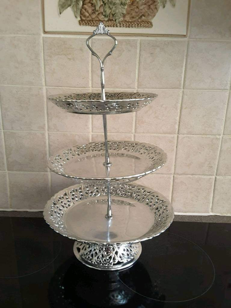 Silver Plated 3 Tier Cake Stand Must See Selby & Silver Plated 3 Tier Cake Stand Must See Selby | in Selby North ...