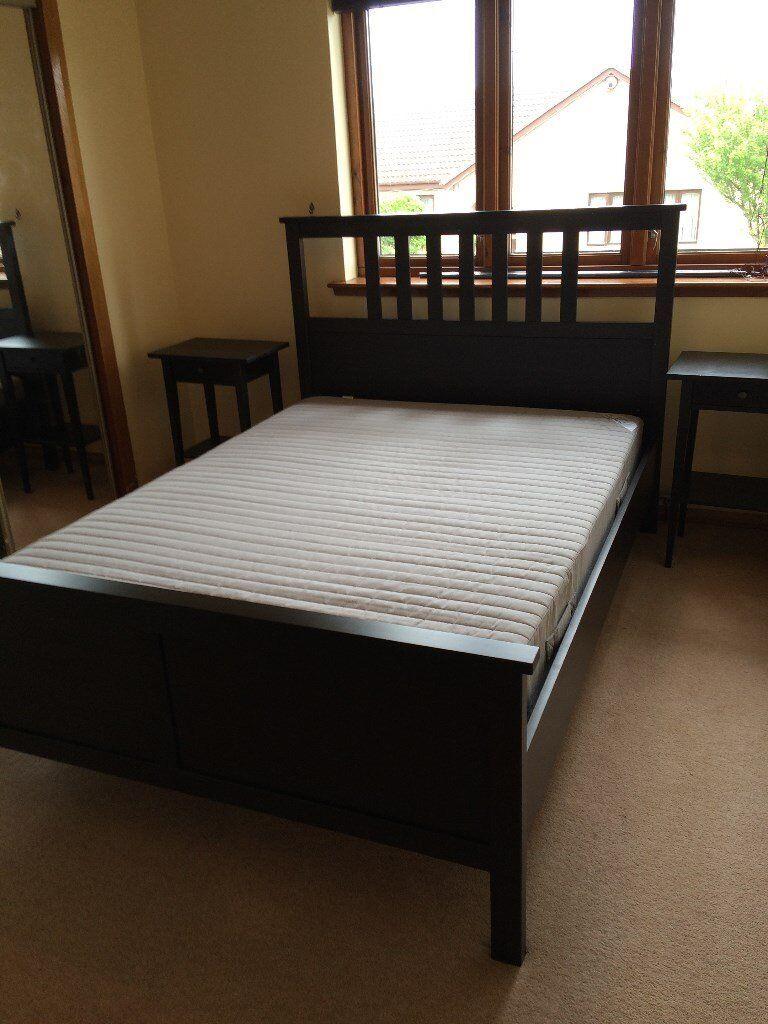 Double Ikea HEMNES Bed Frame, IKEA Sultan Mattress, Matching IKEA Hemnes  Side Tables