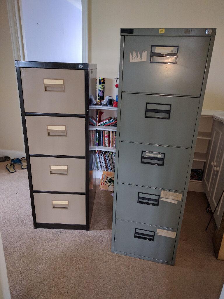 Free Grey 5 Drawer Metal Filing Cabinet With Hanging Files