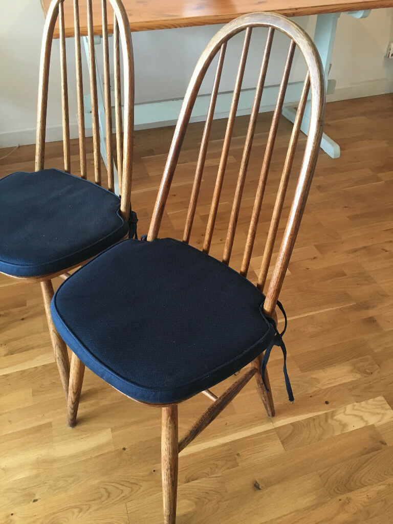 3 X Ercol Windsor Model 400 Dining Chairs With Cushions