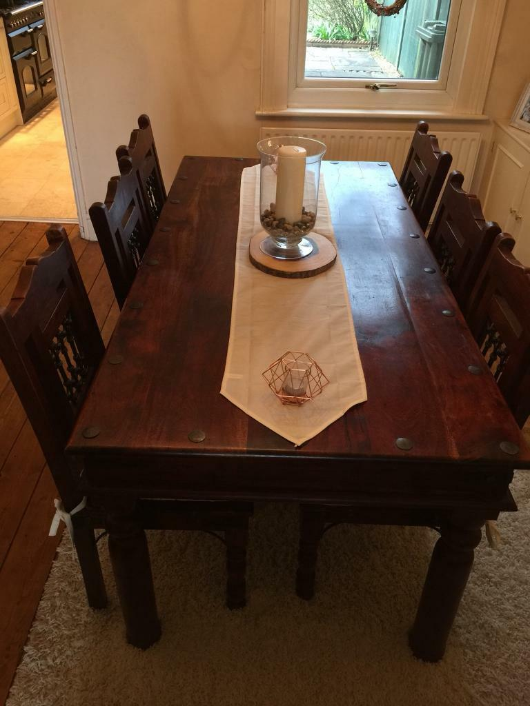 Wooden Dining Room Table With 6 Chairs