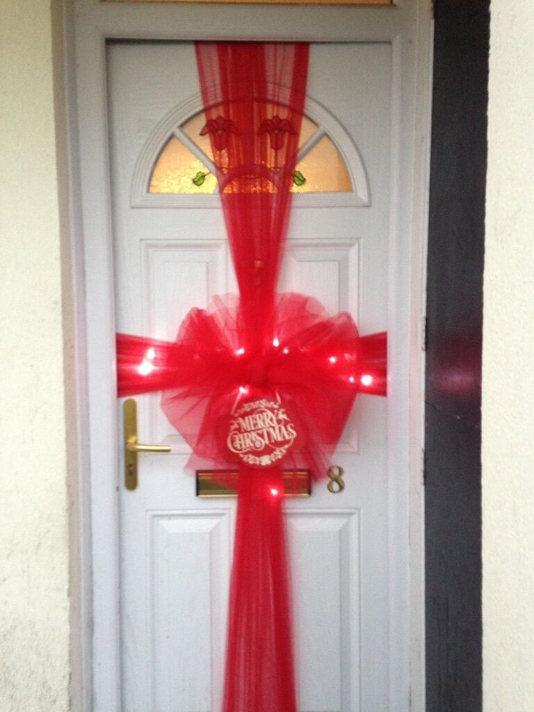 Red Christmas Door Bows supplied u0026 fitted with lights u0026 sign...£ & Red Christmas Door Bows supplied u0026 fitted with lights u0026 sign...£25 ...