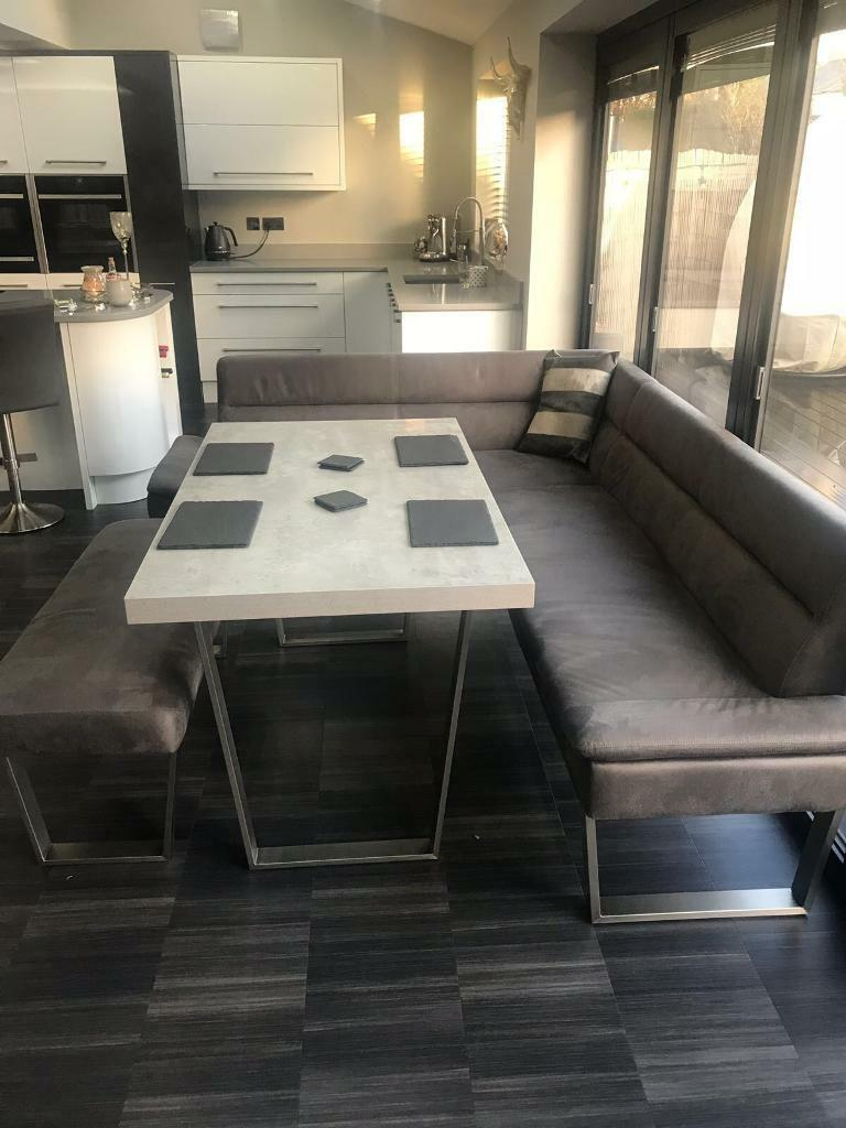 Caspian Corner Dining Set Grey   Nearly New 5/6 Seater Bought From Housing  Units