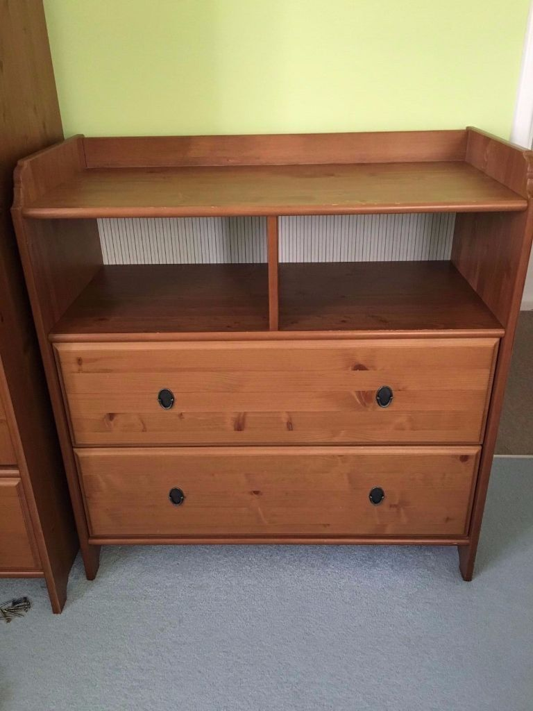 IKEA SUNDVIK CHANGING TABLE / CHEST OF DRAWERS   BROWN   SOLID PINE