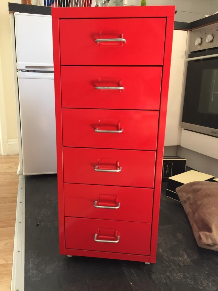 Beau ... Helmer Ikea Red Metal Six Drawers Ex Condition Storage Filing Cabinet  ...