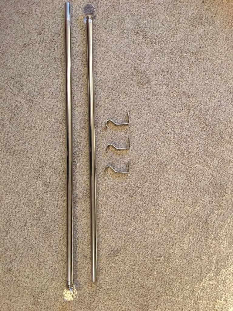 ... Homebase satin steel curtain pole with crystal finials 2 16m in & Homebase Door Curtain Pole ? Curtain Design Lajada