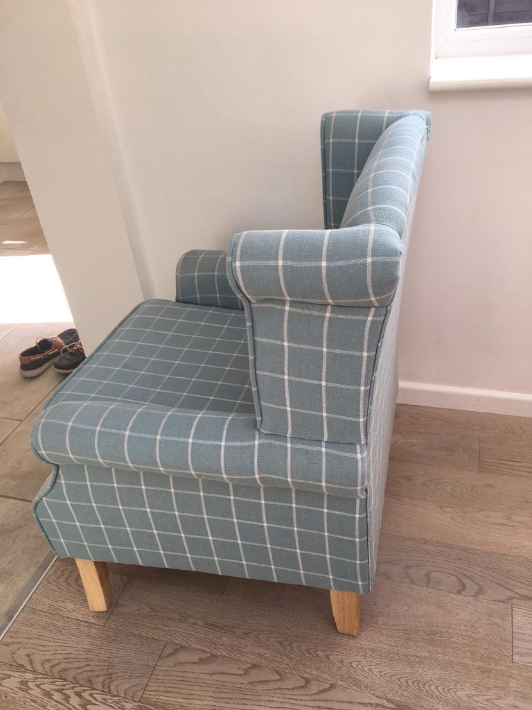 Attrayant Dunelm Duck Egg Check Edinburgh Wingback Chair