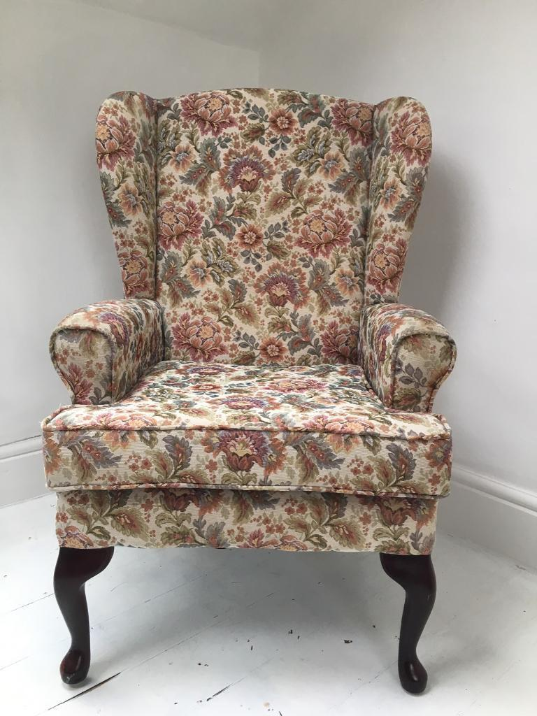 Beau Vintage Wingback Chair With Queen Anne Legs
