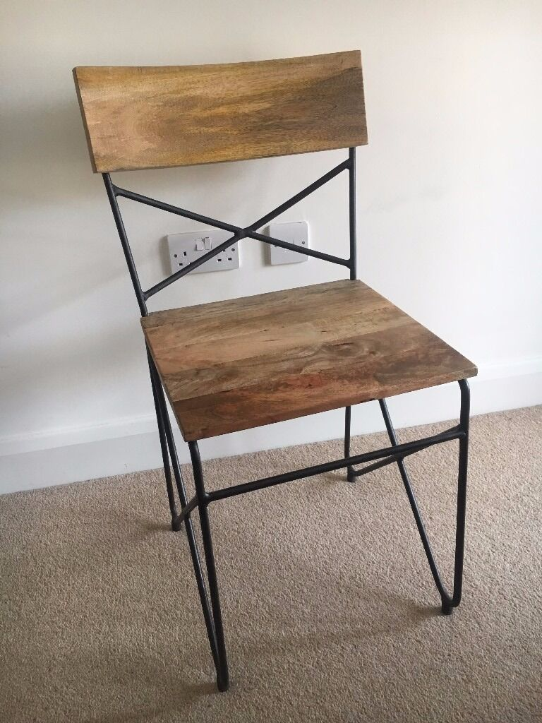 Ordinaire 4 X Mango Wood And Iron Dining Chairs