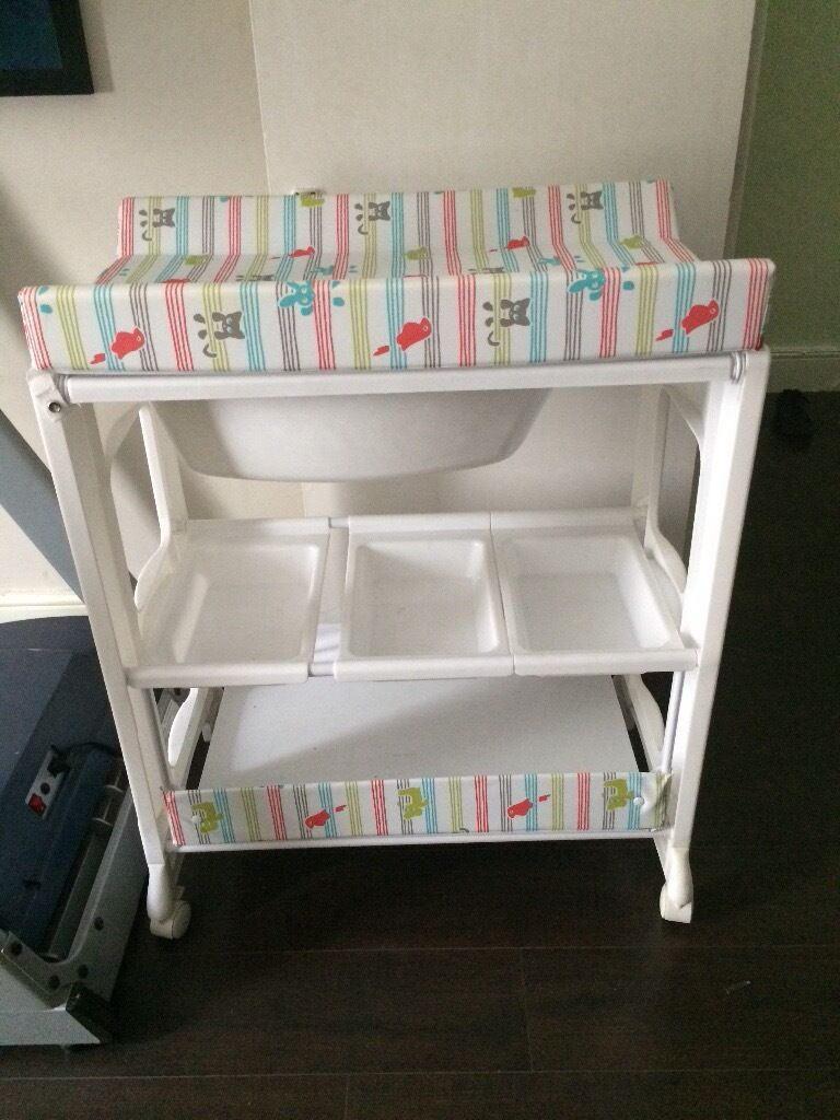 Baby Peachy Changing Table Unit With Build In Bath By My Child