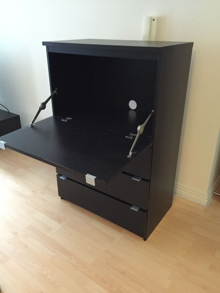 Marvelous IKEA JONAS Desk / Bureau With Three Large Drawers (Similar To IKEA MALM  Chest Of