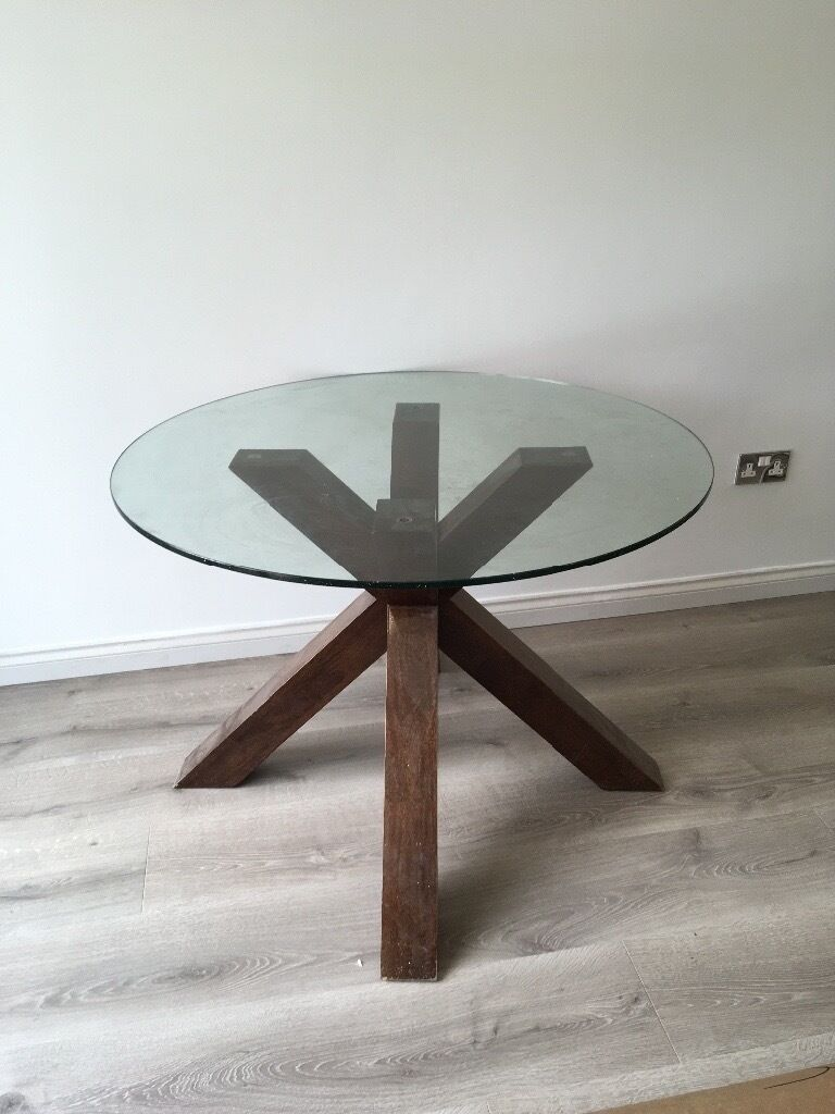 Round Glass Table With Dark Wood Legs