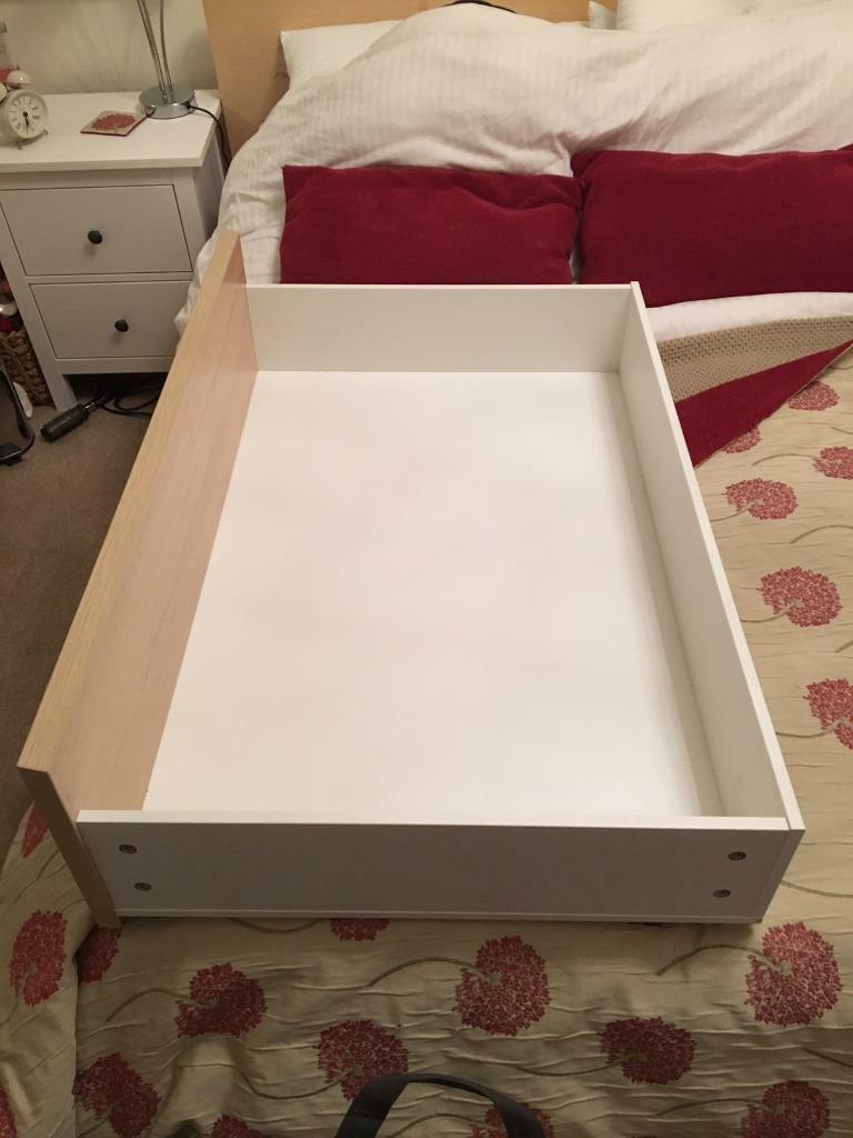 4 Ikea Malm Underbed Storage Drawers (with Raisers To Fit Low Malm)