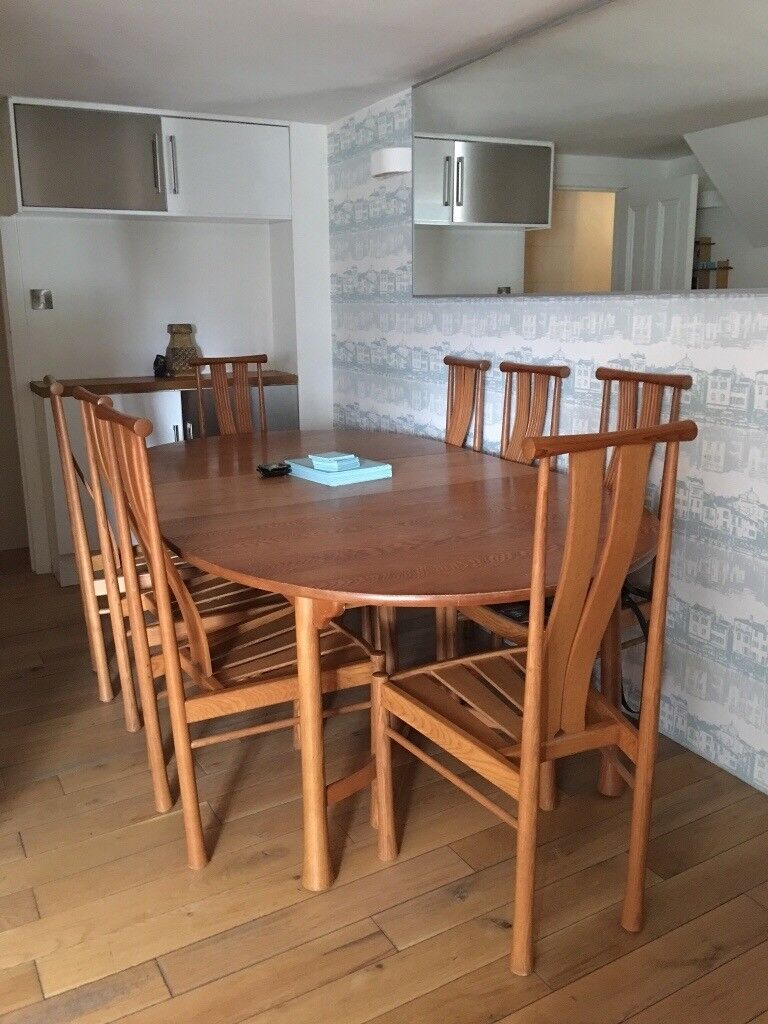 ERCOL DINING TABLE U0026 Eight CHAIRS