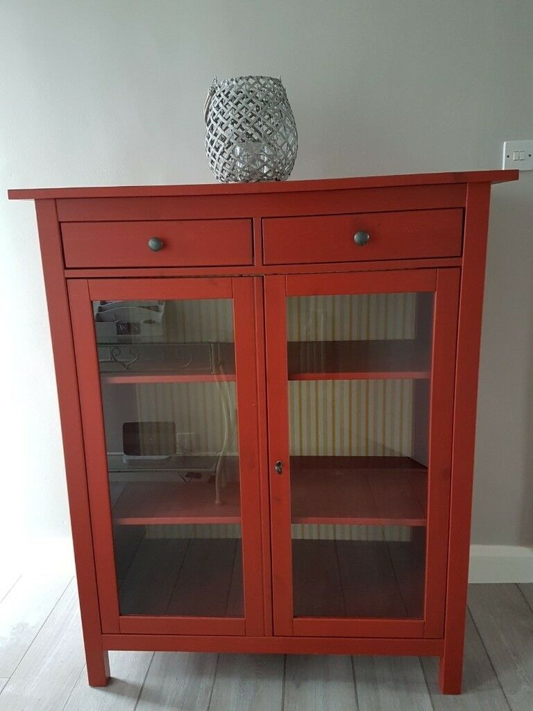 Red Ikea Hemnes Glass Fronted Linen Cabinet / Cupboard.