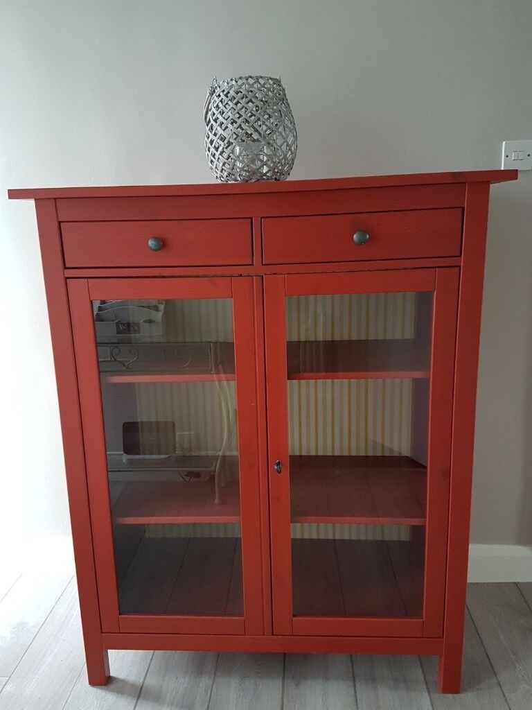 Charming Red Ikea Hemnes Glass Fronted Linen Cabinet / Cupboard.