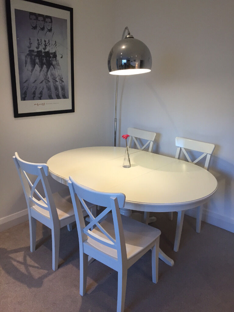 Good Ikea Extendable Dining Table INGATORP + 4 INGOLF Dining Chairs (white)