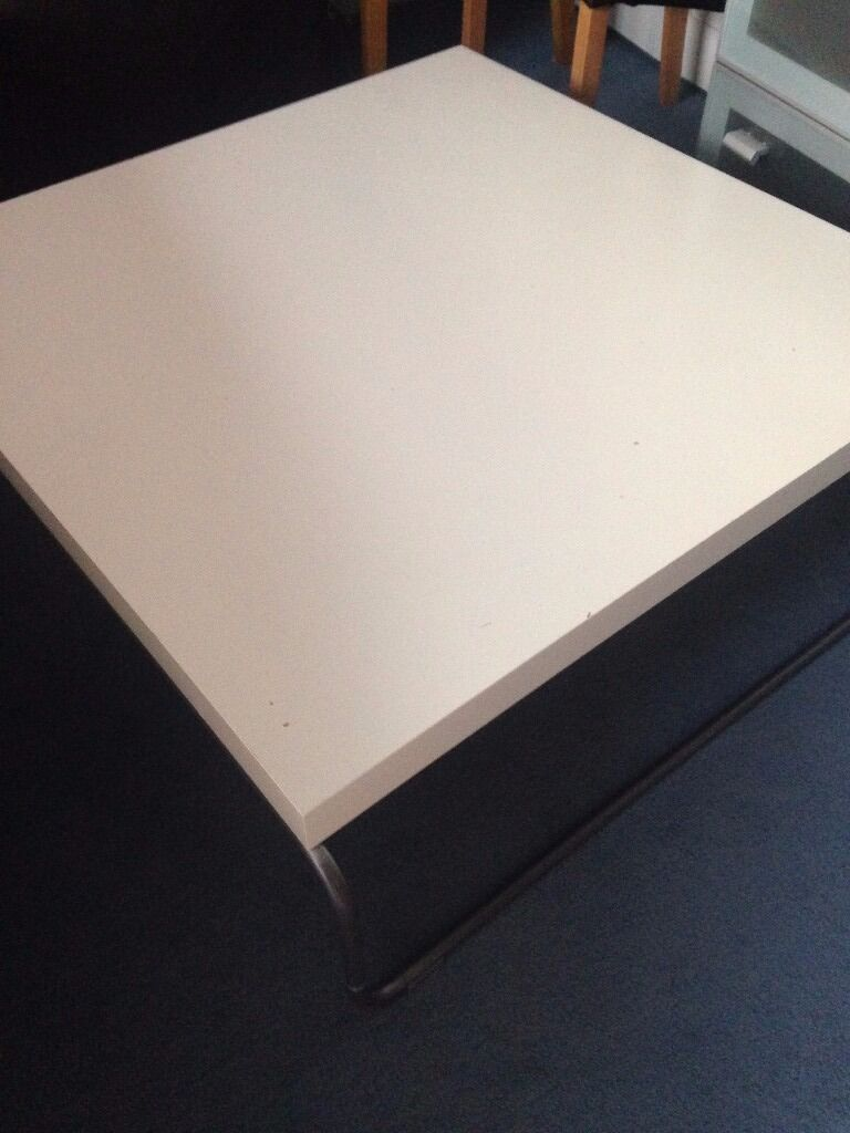 IKEA Svansbo Coffee Table Set   White Square Table And Mahogany Rectangular  Table
