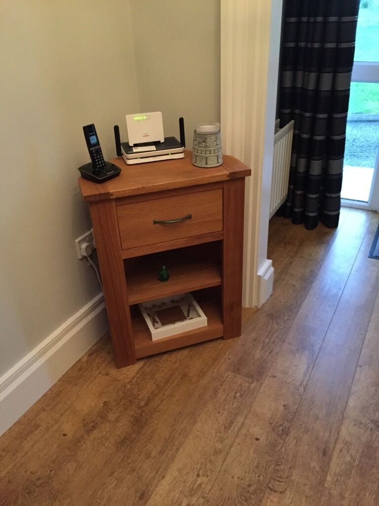 Solid Oak Corner Telephone Table