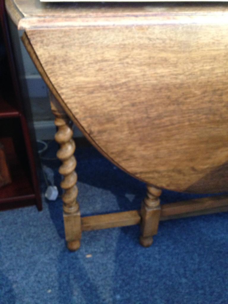 Solid Oak Drop Leaf Table With Barley Twist Legs