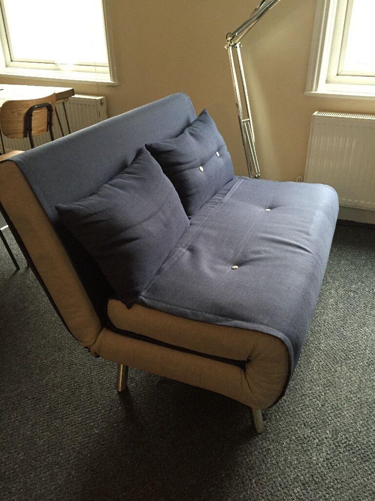 SOFA BED   CONVERTIBLE MADE 2 Seater   Haru, A Small Sofa Bed Quartz Blue