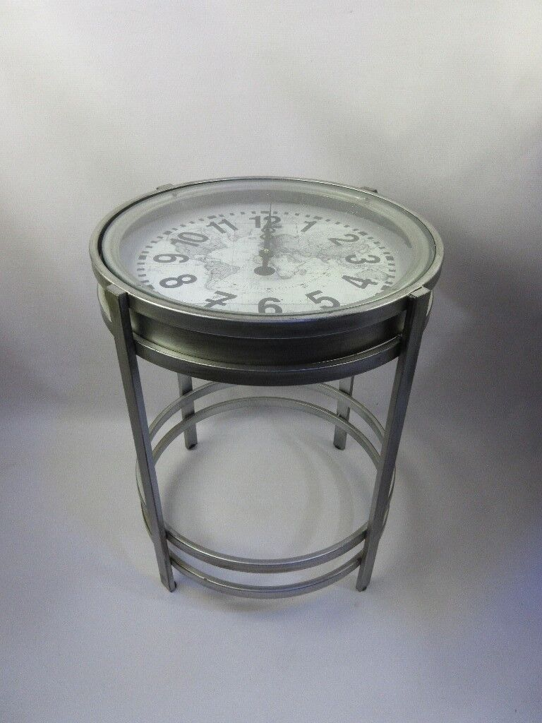 BEAUTIFUL SILVER CLOCK SIDE TABLE   VERY UNIQUE   ONLY £40 !! BARGAIN!!!