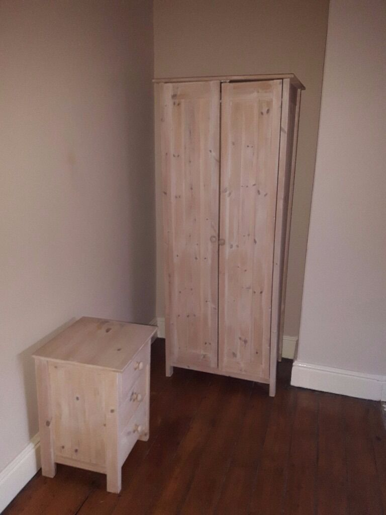 2 Single, Light Pine, Pine Wardrobes With Matching Bedside Table With  Drawers Part 37