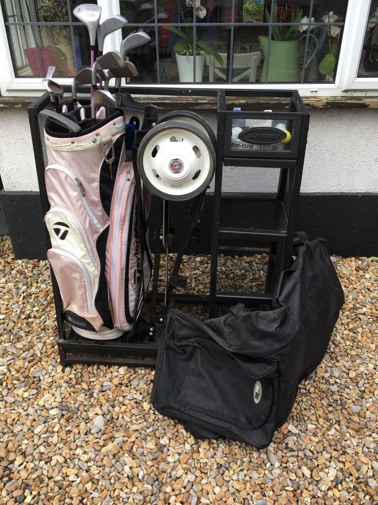 Ladies Golf Clubs, Trolley, Bag, Travel Bag And Storage Unit