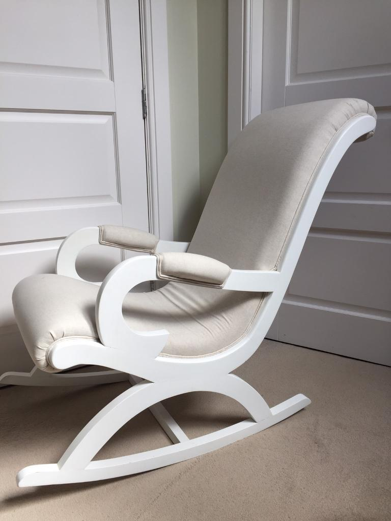 Ordinaire Linen Fabric White Wooden Rocking Chair Chic Shack London Nursing Nursery  Occasional Shabby Chic