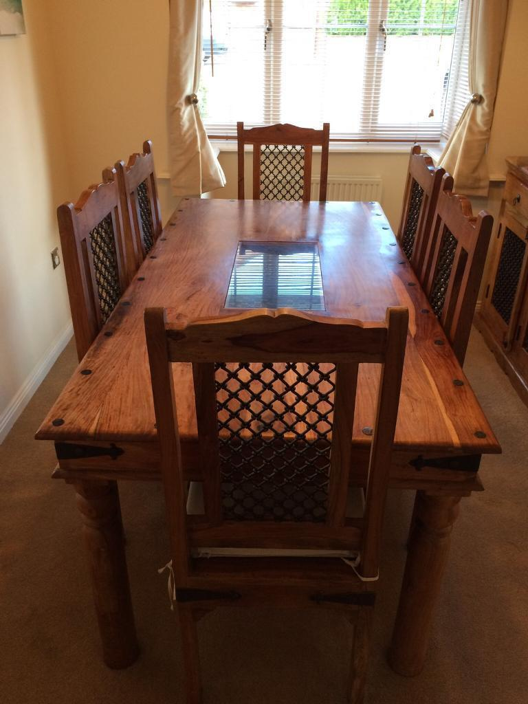 **REDUCED** Jali Indian Sheesham Solid Wood Dining Table + 6 Matching Jali