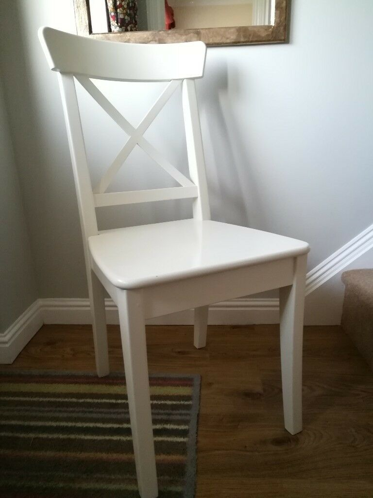 Charmant White IKEA Ingolf Chair. Lovely Used Condition