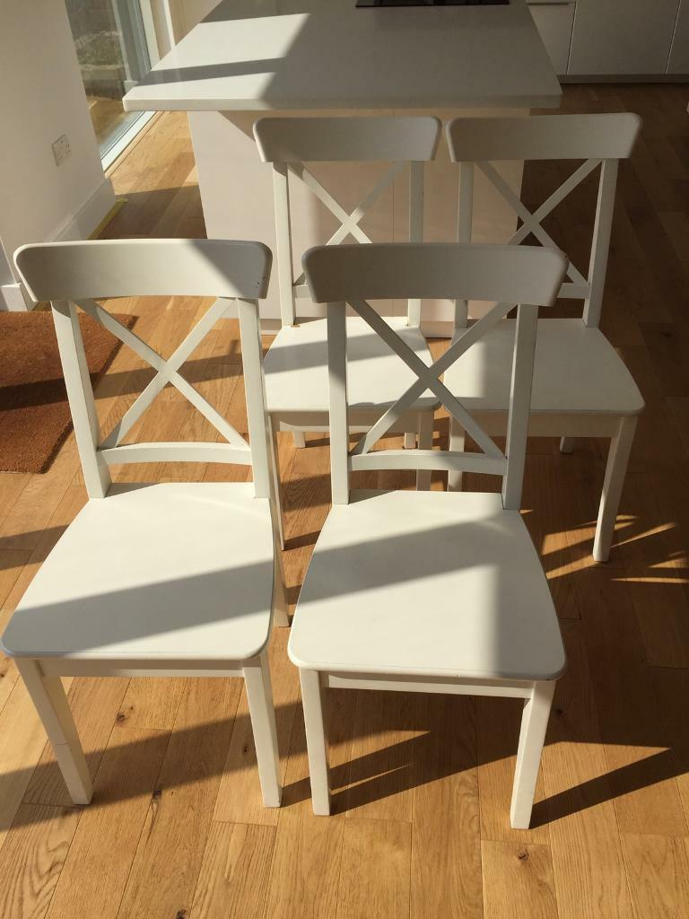 4 White Ikea Ingolf Dining Chairs Used Condition See Photos In