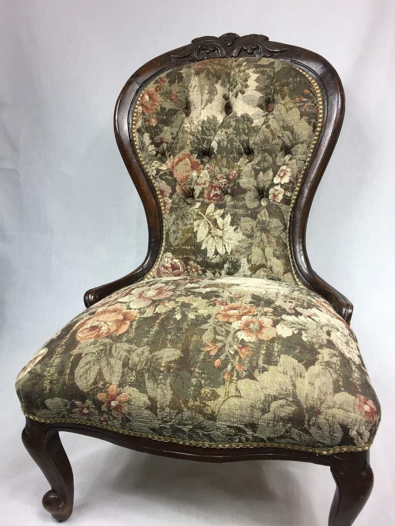 Antique Victorian Occasional Chair   Newly Upholstered