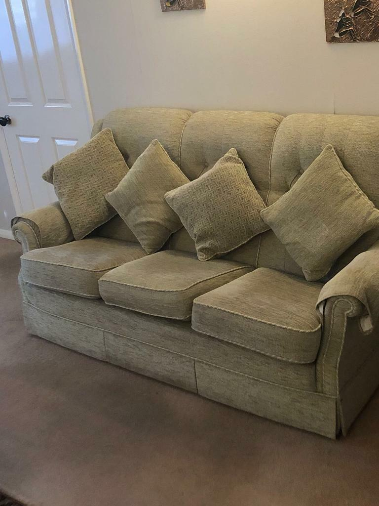 Two Pale Green Sofas   2 U0026 3 Seaters With Footstall