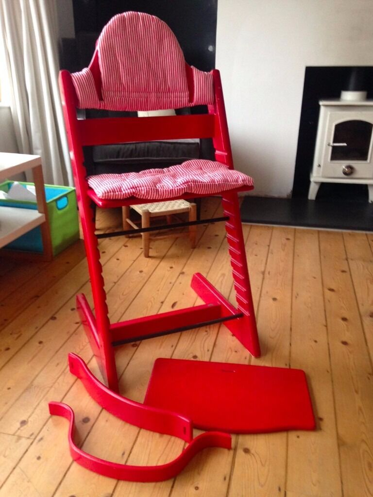 Wonderful Vintage Red Stokke Tripp Trapp High Chair With Striped Cotton Covers