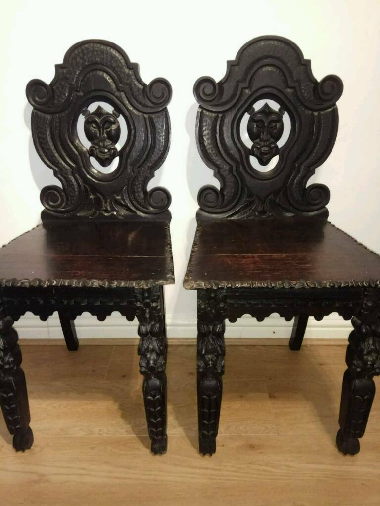 Stunning pair of antique gothic style hall chairs & Stunning pair of antique gothic style hall chairs | in Swansea | Gumtree