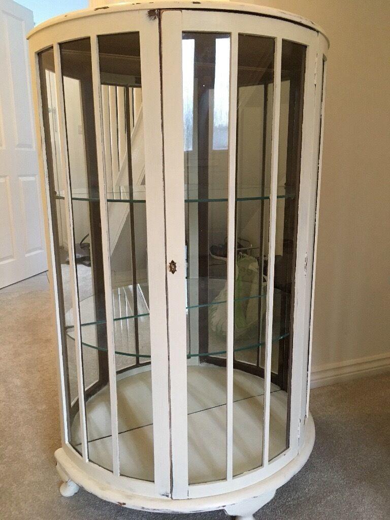Vintage Semicircular Glass/Mirror Display Cabinet