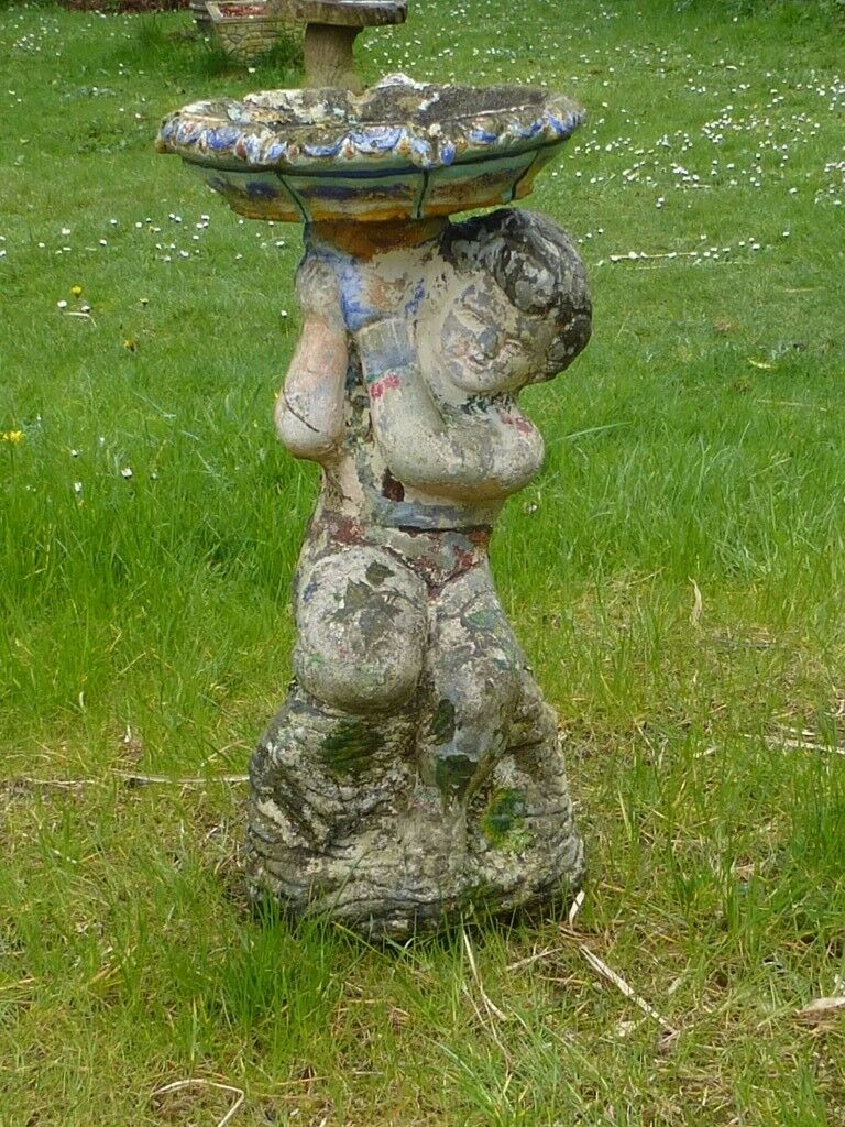 Vintage Hand Painted Cherub Bird Bath 58cm Tall Garden Ornament Statue