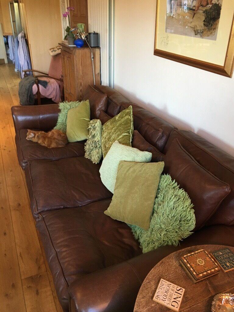 Duresta Plantation Grand Sofa In Brown Leather