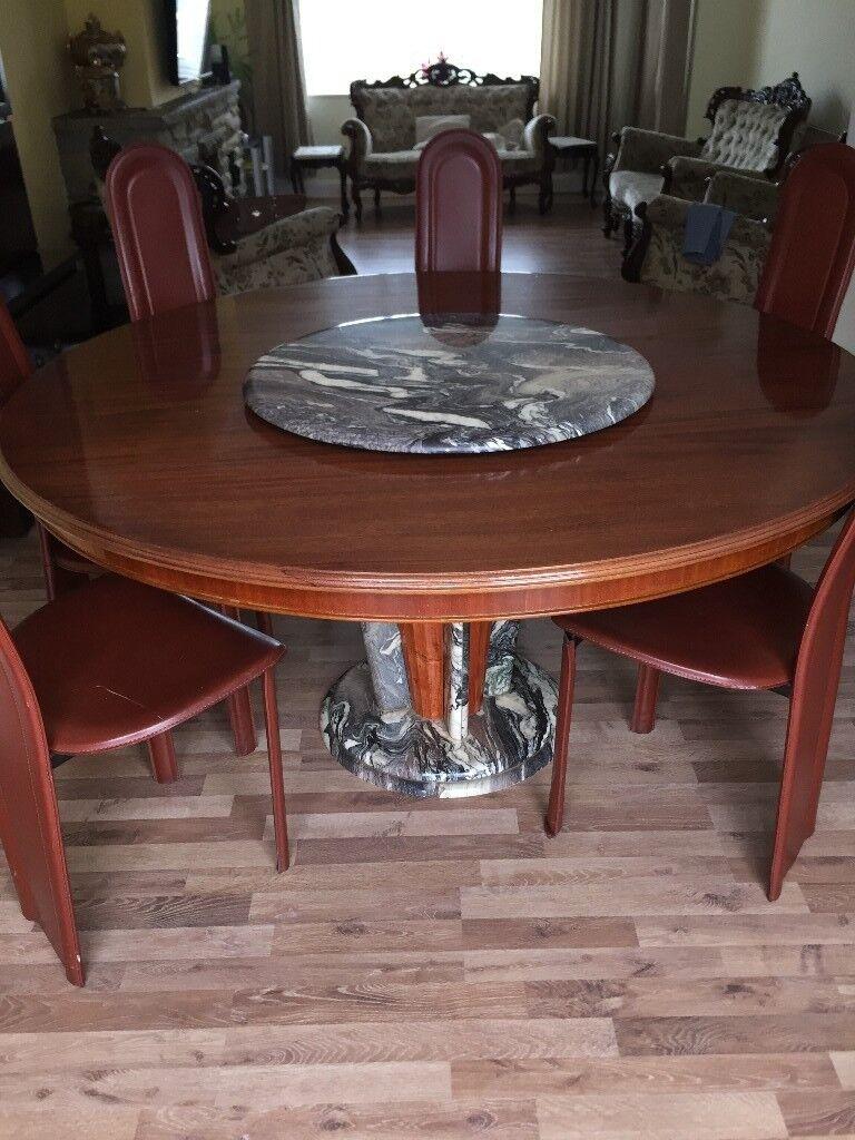Bon Marble And Mahogany Wood Revolving Dining Table