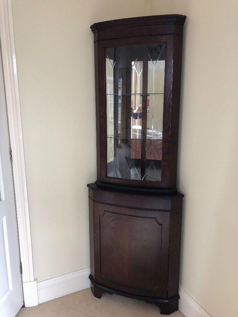 Attractive Dark Wood Corner Cupboard
