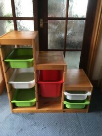 IKEA PINE STORAGE UNIT WITH SLIDE IN COLOURED CONTAINERS AS SEEN ...