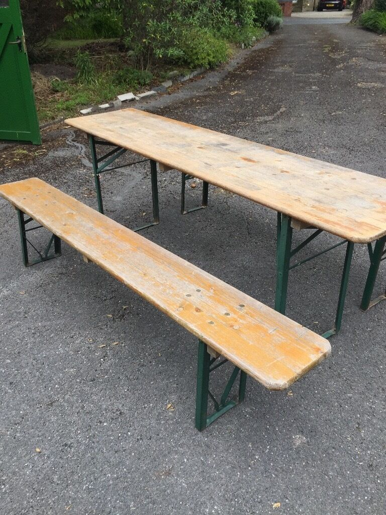 Genuine German Beer Garden Fold Up Table And Two Benches