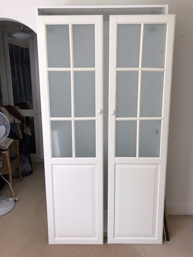 Bon Ikea White PAX Wardrobe With 2 Frosted Glass Doors U0026 5 Shelves   Excellent  Condition