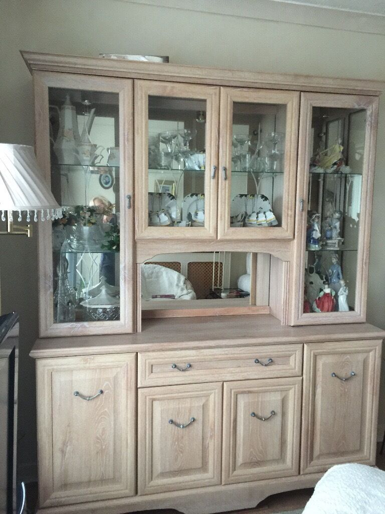 LIMED OAK DISPLAY CABINET