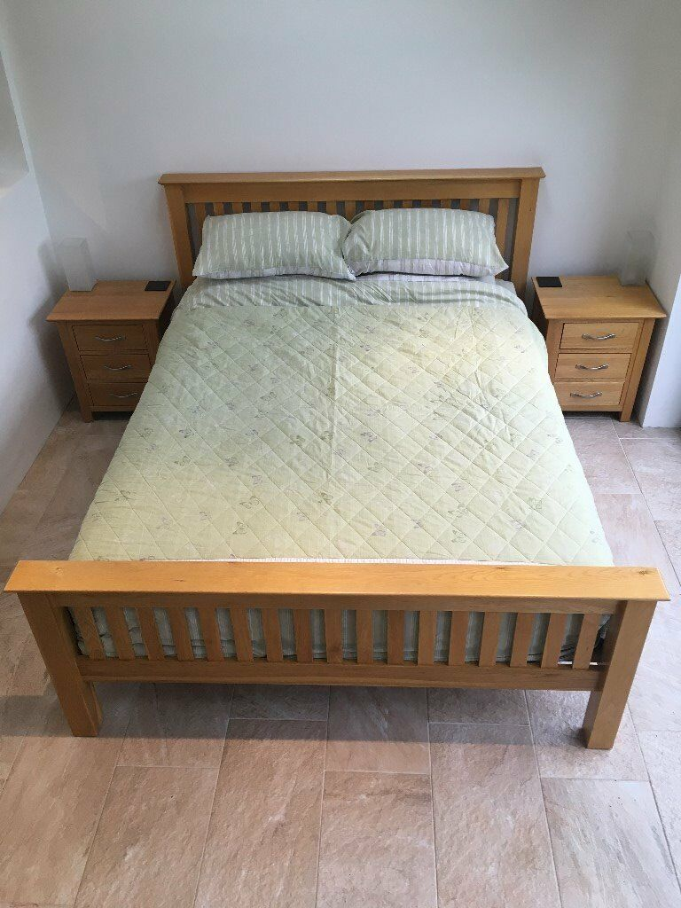 Solid Oak King Sized Bed And Matching Bedside Tables