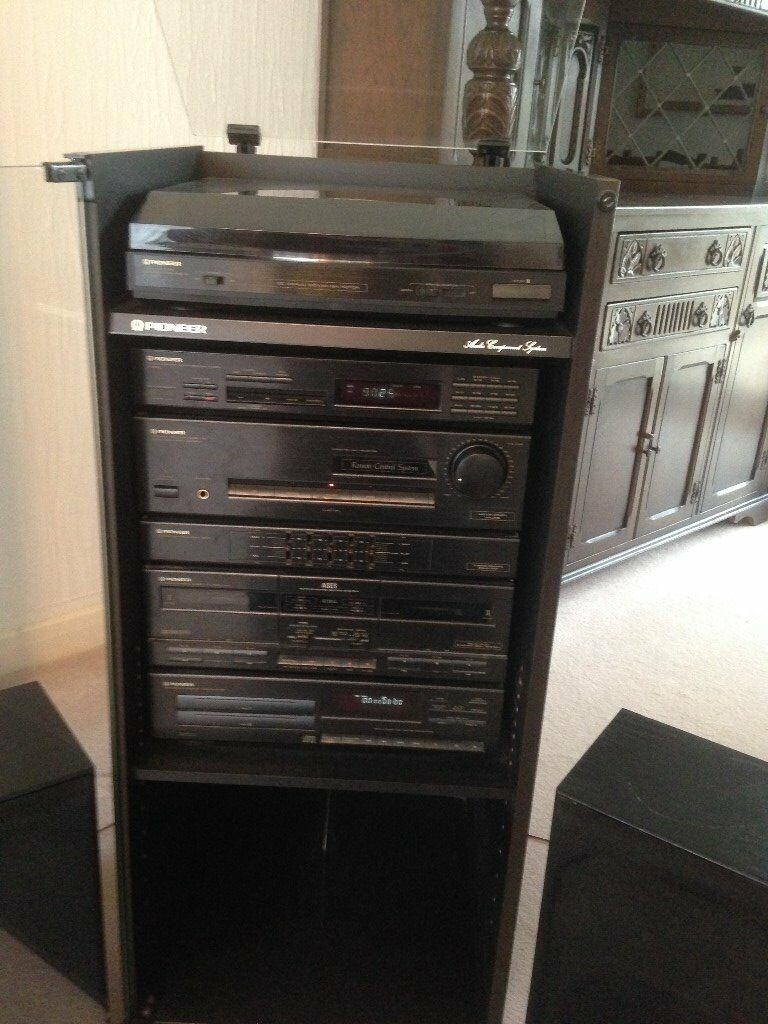 Pioneer Stereo System And Glass Cabinet